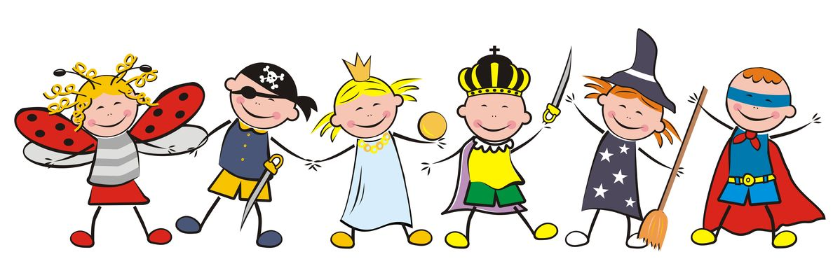 78605450 - carnival, happy kids and masks, vector illustration
